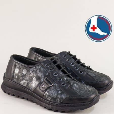Дамски обувки от естествена кожа в черен цвят- LORETTA l6480ch
