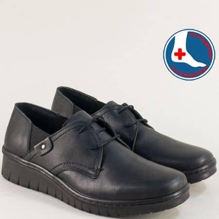 Черни дамски обувки с ластик и връзки- LORETTA l6483ch
