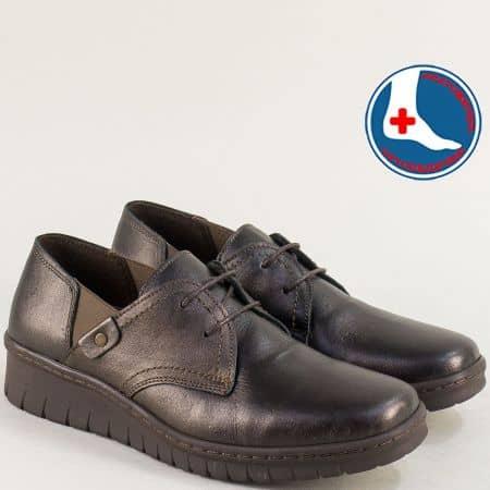 Тъмно кафяви дамски обувки на ортопедично ходило Loretta l6483kk