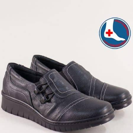 Дамски обувки в черен цвят с кожена ортопедична стелка l6487ch