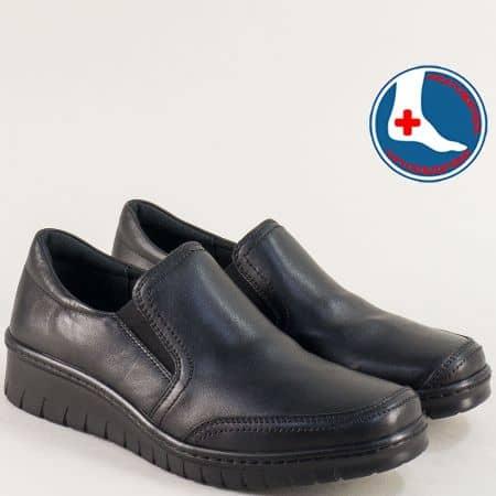Дамски черни обувки от естествена кожа на ортопедично ходило l6488ch