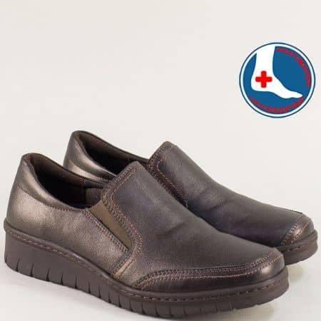 Тъмно кафяви дамски обувки с кожена стелка- LORETTA l6488kk