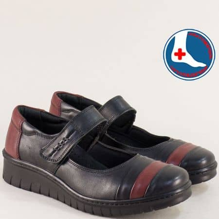 Кожени дамски обувки в черно и бордо с лепка- LORETTA l6515ch