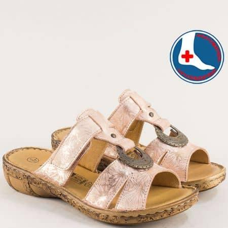 Дамски чехли от естествена кожа в розов цвят- LORETTA l6574rz