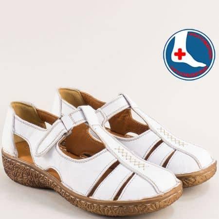 Бели дамски обувки от естествена кожа с прорези- LORETTA l6581b