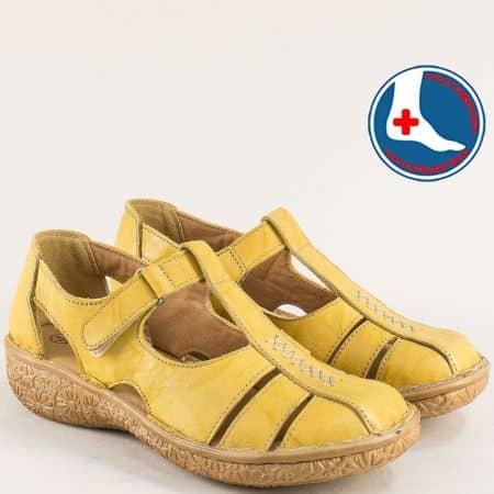 Затворени жълти дамски сандали от естествена кожа на анатомично ходило l6581j
