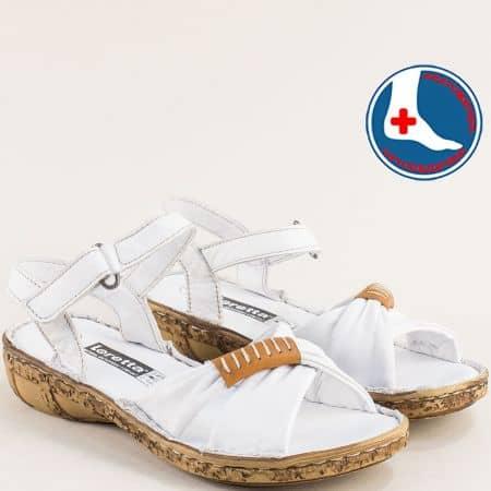 Дамски сандали Loretta в бяло от кожа на ортопедично ходило l6590b