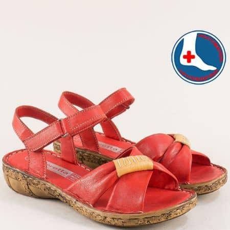 Ортопедични дамски сандали от естествена кожа в червен цвят на марка Loretta l6590chv