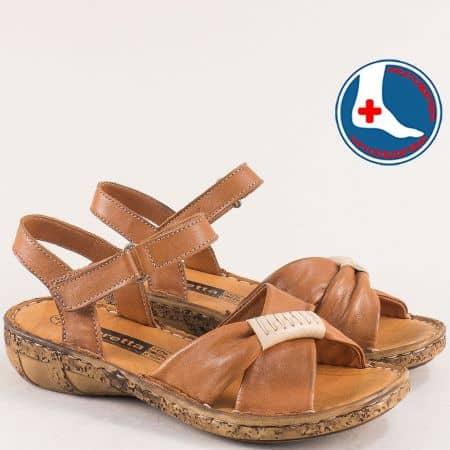 Естествена кожа дамски сандали в кафяв цвят на ортопедично ходило  l6590k
