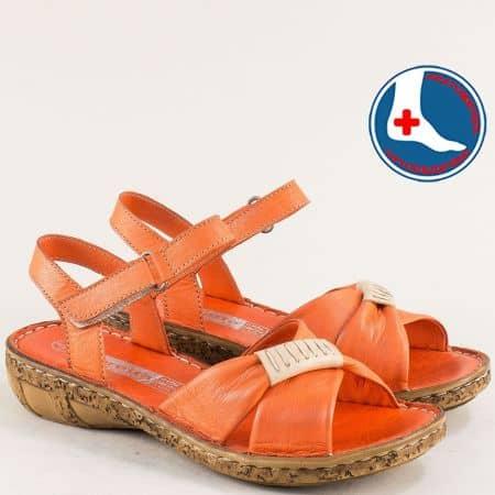 Дамски сандали на ортопедично ходило 100% естествена кожа в оранжев цвят l6590o