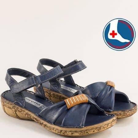Сини дамски сандали на ортопедично ходило от естествена кожа  l6590s