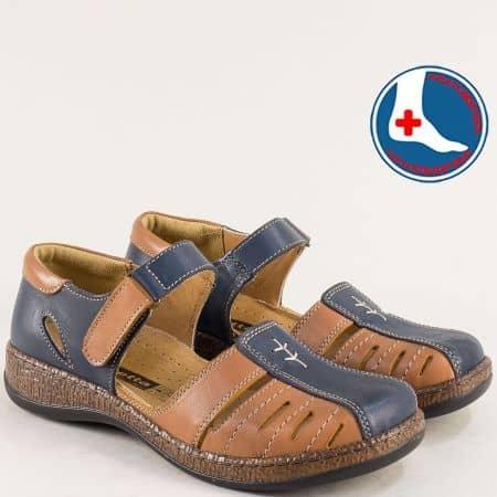 Ортопедични дамски сандали от естествена кожа на ортопедично ходило в кафяво и синьо l6639sk