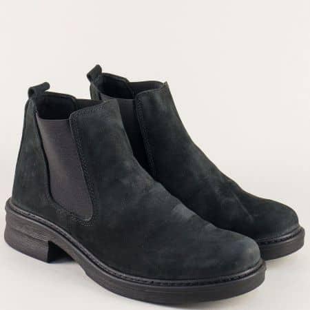Шити дамски боти на нисък ток от черен естествен набук l6163nch