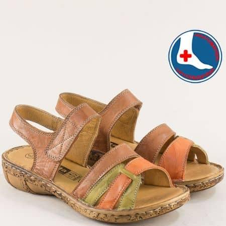 Кафяви дамски сандали от естествена кожа на анатомично ходило Loretta l6644kps