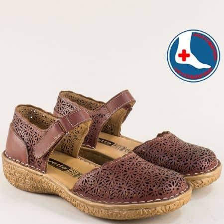 Тъмно кафяви летни дамски обувки Loretta от кожа на ортопедично ходило l6654kk