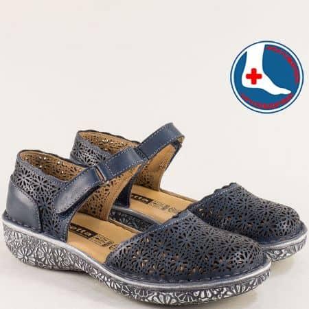 Летни дамски обувки от естествена кожа в син цвят на ортопедично ходило l6654s