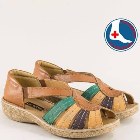 Дамски сандали в кафяво, зелено и бежово- LORETTA  l6657kps