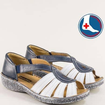 Кожени дамски сандали в бяло и синьо- LORETTA l6657sb