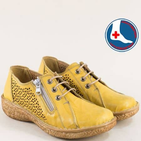 Жълти дамски обувки с частична перфорация- LORETTA l6665j