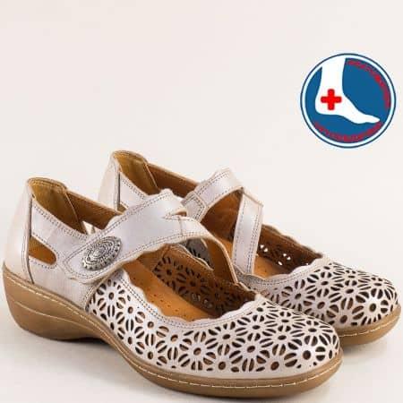 Ортопедични дамски обувки от естествена кожа в бежов цвят l6682tbj