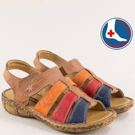 Дамски сандали в кафяво, синьо, червено и оранж- LORETTA l855kps