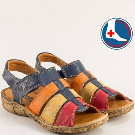 Дамски сандали в оранж, синьо, червено, кафяво- LORETTA l855sps