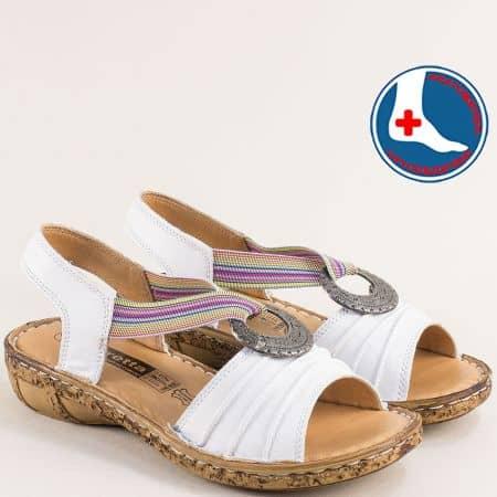 Шити дамски сандали от бяла естествена кожа с ластик l856b
