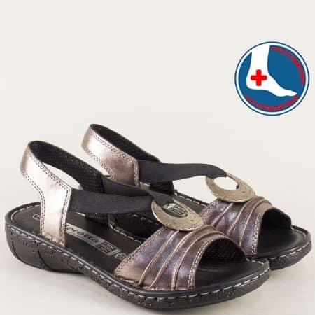 Анатомични дамски сандали в бронз с v- образен ластик l856brz