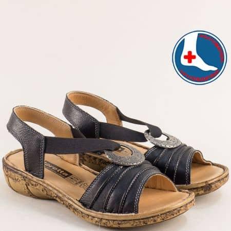 Черни дамски сандали с кожена ортопедична стелка l856ch