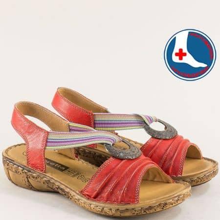 Анатомични дамски сандали от червена естествена кожа l856chv