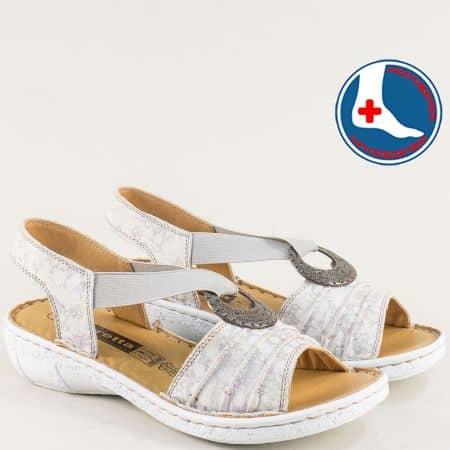 Анатомични дамски сандали в сив цвят с v- образен ластик l856ps