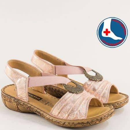 Розови дамски сандали от естествена кожа на ортопедично ходило на марка Loretta l856rz