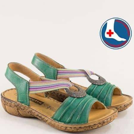 Зелени дамски сандали с v- образен ластик- LORETTA l856z