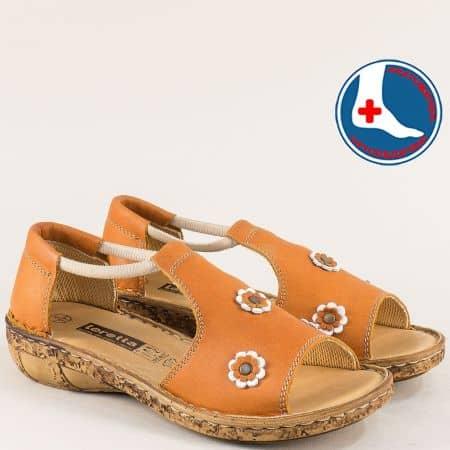 Кафяви дамски сандали от естествена кожа с ластик  l915k