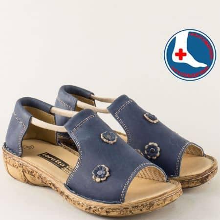 Анатомични дамски сандали със затворена пета в синьо l915s