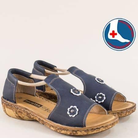 Анатомични дамски сандали в син цвят с ластик- Loretta l915s1