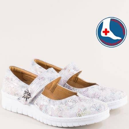 Бели ортопедични дамски обувки от естествена кожа l961bps