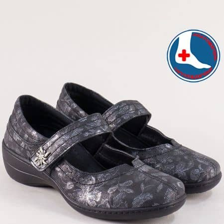 Кожени дамски обувки с лепка в черно и сребро- LORETTA l961chsr