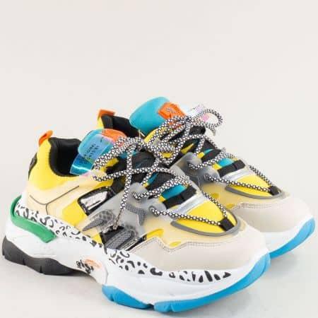 Дамски маратонки в жълто, зелено синьо, бяло, черно и оранж la3039j
