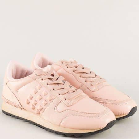 Дамски маратонки с връзки и декорация в розов цвят ldh03rz