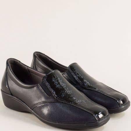Черни дамски обувки от естествен лак и кожа- Portania lexi47ch
