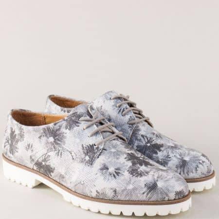 Сиви дамски обувки от естествена кожа с флорален принт liv03sv