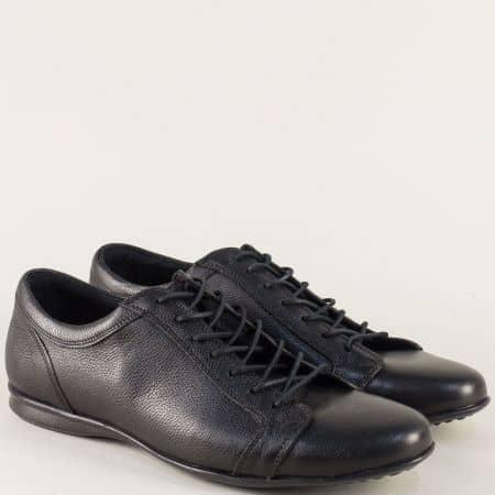 Черни мъжки обувки на равно ходило с кожена стелка m014ch