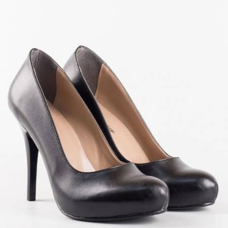 Стилни дамски обувки на висок ток и скрита платформа в черен цвят  m015ch
