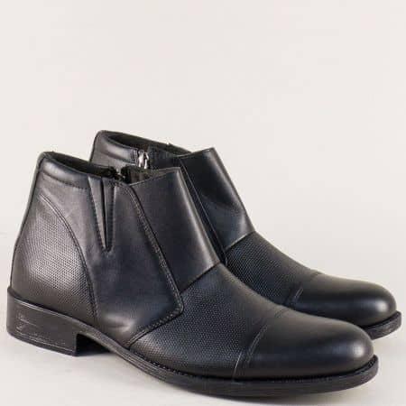 Кожени мъжки боти на комфортно ходило в черен цвят m021ch