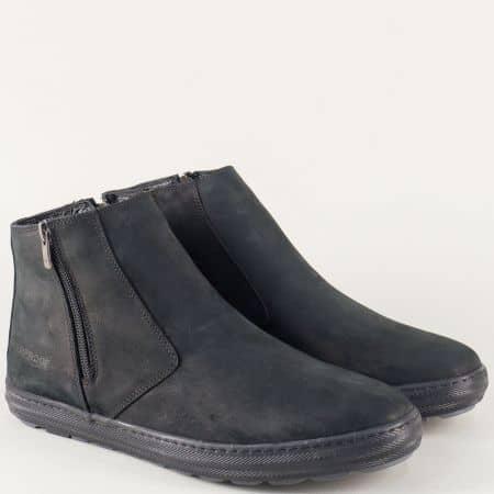 Шити мъжки боти с два ципа от черен естествен набук n022nch