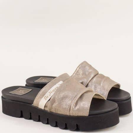Златни дамски чехли от естествена кожа на платфорама  m029zl