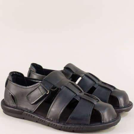 Черни мъжки сандали със затворени пръсти и пета m030ch