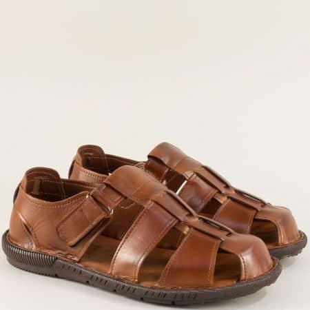 Кафави мъжки сандали с велкро лента от естествена кожа m030k