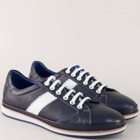 Спортни мъжки обувки от естествена кожа в тъмно син цвят m082s